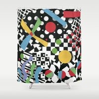 tape Shower Curtains featuring Ticker Tape by Patricia Shea Designs