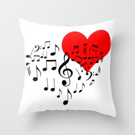 The Singing Heart. Black On White. Simple And Chic Conceptual Design Throw Pillow