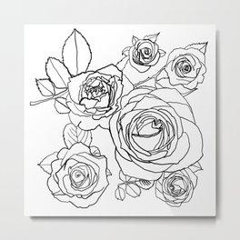 Feminine and Romantic Rose Pattern Line Work Illustration Metal Print