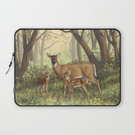 Whitetail Doe and Cute Twin Fawns Laptop Sleeve