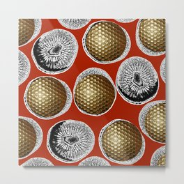 RED, WHITE & GOLD Metal Print