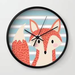 Cute fox illustration with stripes blue white and orange Wall Clock