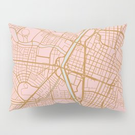 Pink and gold Medellin map, Colombia Pillow Sham