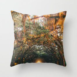 Tree Lined Road Throw Pillow