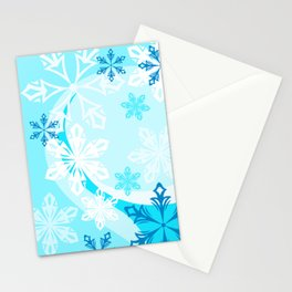 Blue Flower Art Winter Holiday Stationery Cards