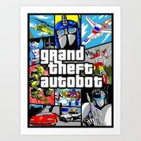gta v Art Prints featuring Grand Theft Autobot (GTA G1 Transformers) by Demonlinks