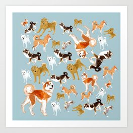 Japanese Dog Breeds Art Print