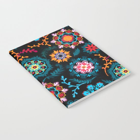 Suzani Inspired Pattern on Black Notebook