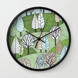 Little Cottage in the Woods Wall Clock