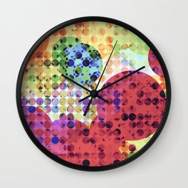 geometric circle pattern abstract background in red pink yellow orange green Wall Clock