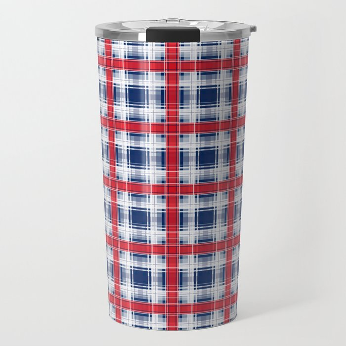 Plaid, red and blue Travel Mug