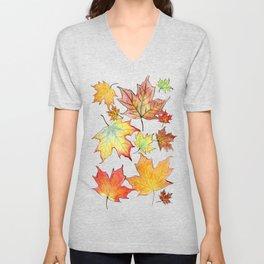 Autumn Maple Leaves Unisex V-Neck