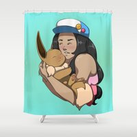 eevee Shower Curtains featuring Trainer And Eevee by Little Kitty