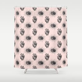 Hand and Eye of wisdom pattern - Pink & Black - Mix & Match with Simplicity of Life Shower Curtain