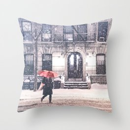 New York City Snow and Red Umbrella Throw Pillow