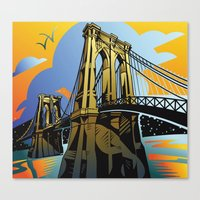 brooklyn bridge Canvas Prints featuring Brooklyn Bridge by David Chestnutt