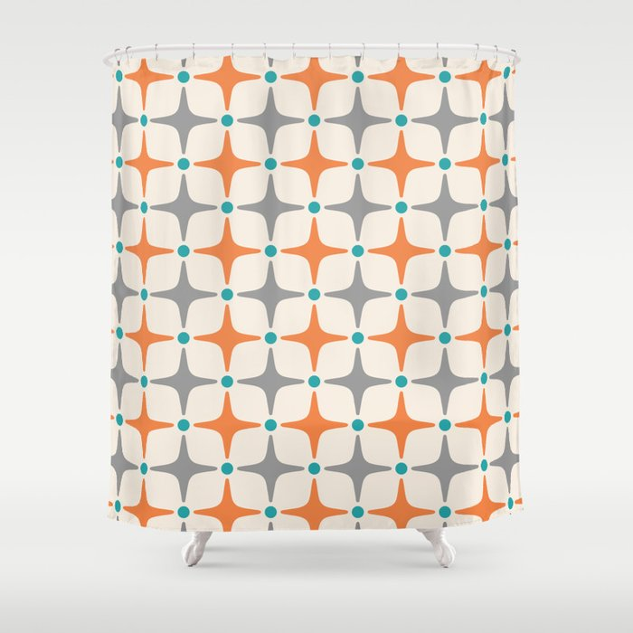 Mid Century Modern Star Pattern Grey And Orange Shower Curtain By