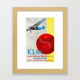 Amsterdam - Vintage KLM Airline Poster Framed Art Print