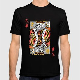 Horror Skeleton King Playing Card Picture T-shirt