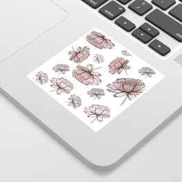Hand Drawn Peonies Dusty Rose Sticker