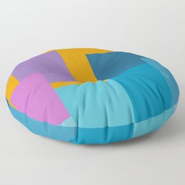 Happy Color Block Geometrics in Yellow, Blue, Purple, and Pink Floor Pillow