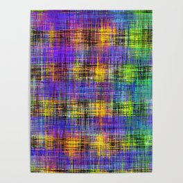 plaid pattern abstract texture in purple yellow green Poster