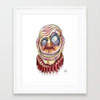 clown Framed Art Prints featuring Clown by Kikillustration