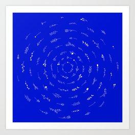 Minimalist Spring Floral Cyclone (White on Blue) Art Print