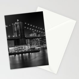 MANHATTAN SKYLINE & BROOKLYN BRIDGE Nightly Impressions | Panoramic Monochrome Stationery Cards