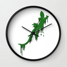 Distressed Green Salamander With Paint Drip Wall Clock