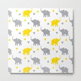 Elephants & Triangles - Gray / Yellow Metal Print