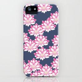 Lotus pattern on dark blue iPhone Case