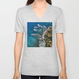 Exotic Tropical Coastline With 'Fingers' of Rock Islands Unisex V-Neck