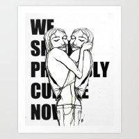 cuddle Art Prints featuring Cuddle by Natalie Sichko