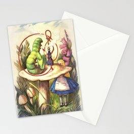 Alice & The Hookah Smoking Caterpillar - Alice In Wonderland Stationery Cards