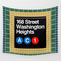 subway Wall Tapestries featuring subway washington heights sign by Art Lahr