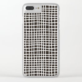 chocolate brown random cross hatch lines checker pattern Clear iPhone Case