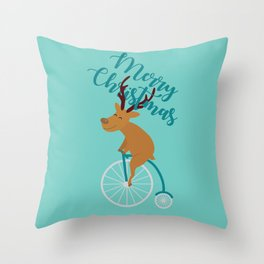Mr Reindeer having Fun with his Penny-farthing Bicycle Throw Pillow