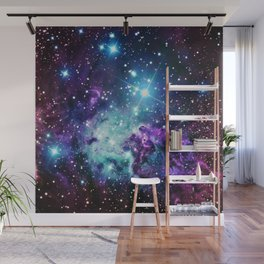 Fox Fur Nebula : Purple Teal Galaxy Wall Mural
