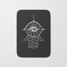 Hamsa Hand White on Black #1 #drawing #decor #art #society6 Bath Mat