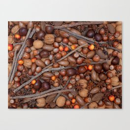 Festive nuts and spices Canvas Print