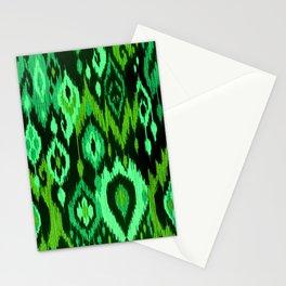 MODERN IKAT TRIBAL PATTERN | green Stationery Cards