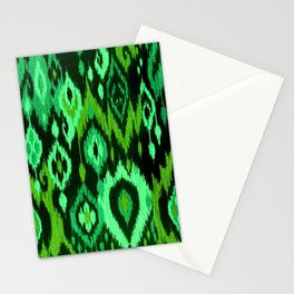 MODERN IKAT TRIBAL PATTERN | green Stationery Cards