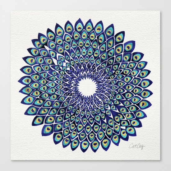 Peacock Mandala – Navy & Gold Canvas Print