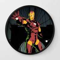 ironman Wall Clocks featuring ironman  by mark ashkenazi