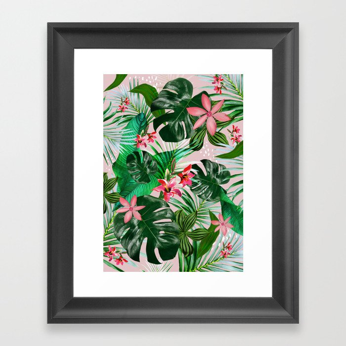 Tropical palm leaf with red flowers Gerahmter Kunstdruck