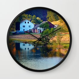 A summer evening along the river II   waterscape photography Wall Clock