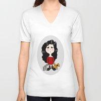cartoon V-neck T-shirts featuring cartoon by Necla Karahalil