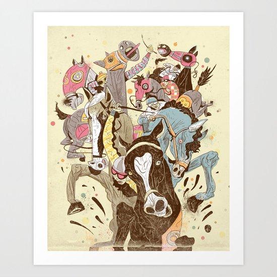 The Great Horse Race! Art Print