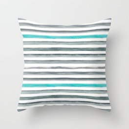 Watercolor Gray & Teal Stripe Pattern Throw Pillow